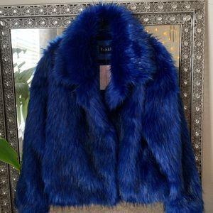 New  Lola shoetique blue black fur coat